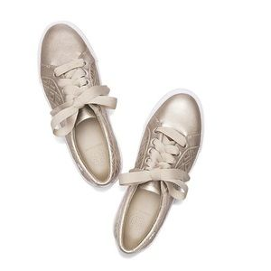 Tory Burch Marion quilted leather gold sneaker 6.